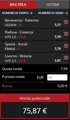 Schedina Serie B 14-04-2019