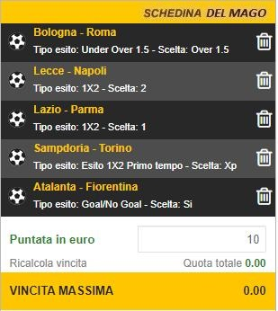 Schedina Serie A 22-09-2019